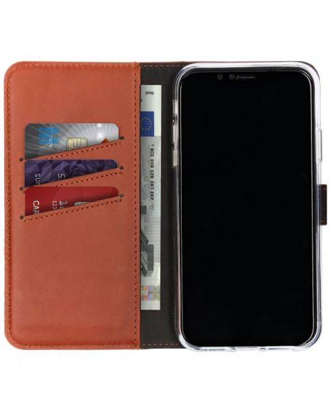 Echt Lederen Booktype iPhone Xr - Lichtbruin / Light Brown
